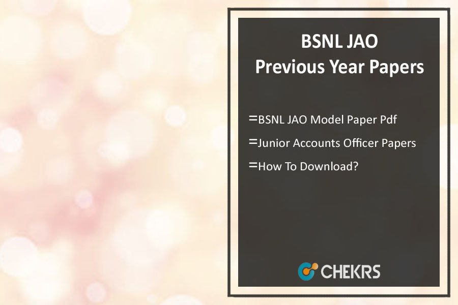 BSNL JAO Previous Year Question Paper- Sample/ Model Papers Pdf