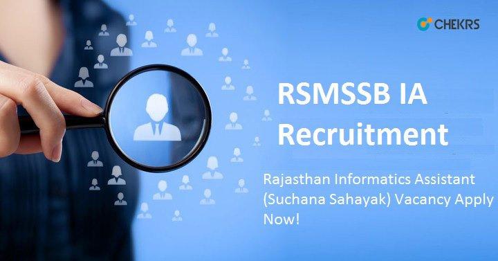 RSMSSB Informatics Assistant Recruitment 2021