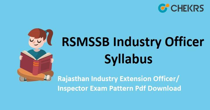 RSMSSB Industry Officer Syllabus 2020