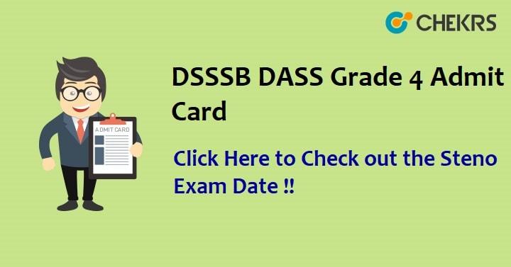 DSSSB DASS Grade 4 Admit Card 2021