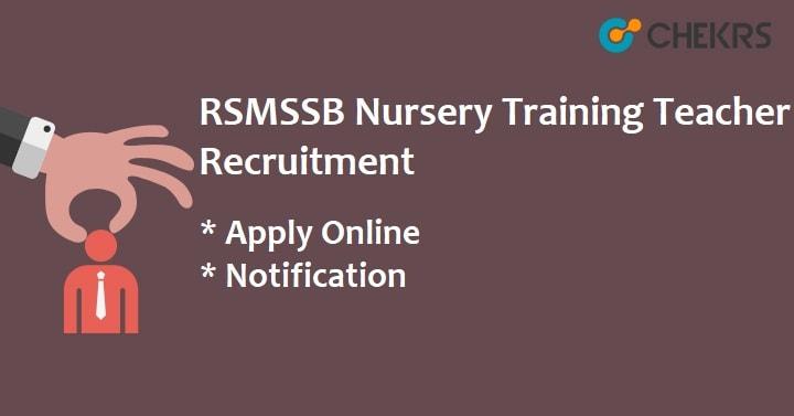 RSMSSB Nursery Training Teacher Recruitment 2021