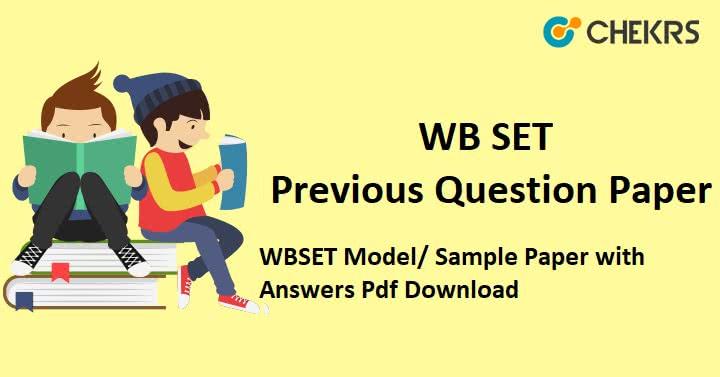 WB SET Previous Question Paper