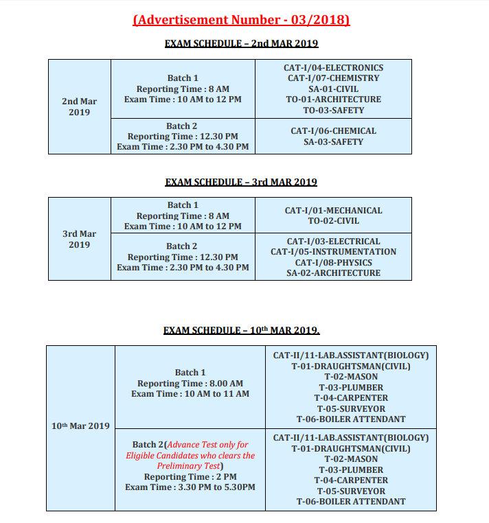 IGCAR Exam Dates
